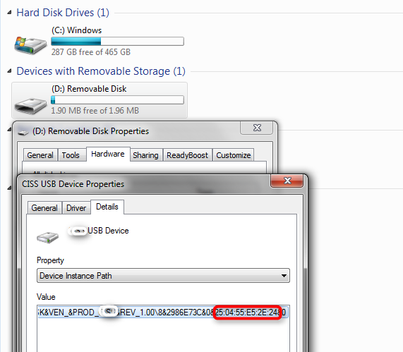 Under Removable disk property