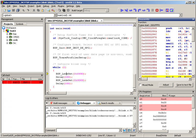 The emIDE, an opensource IDE especially suited for EFM32 software