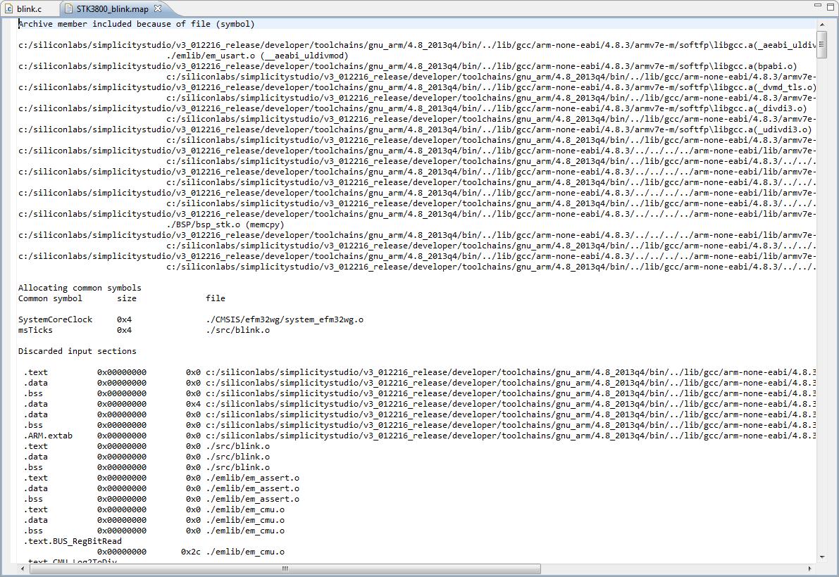 Interpreting the GCC map file in Simplicity IDE