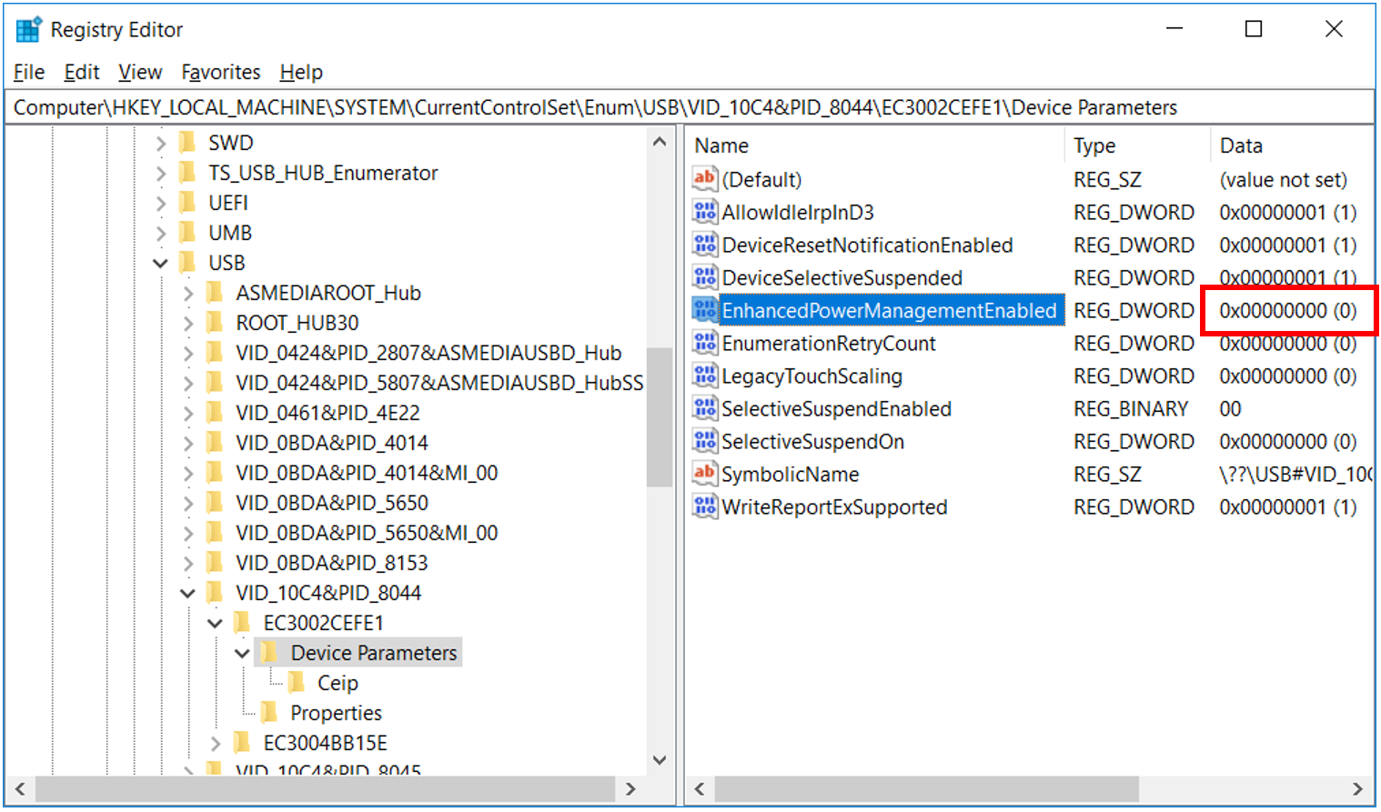 Figure 4 - 'EnhancedPowerManagementEnabled' disable.