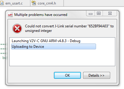 could not convert j-link serial number to unsigned integer