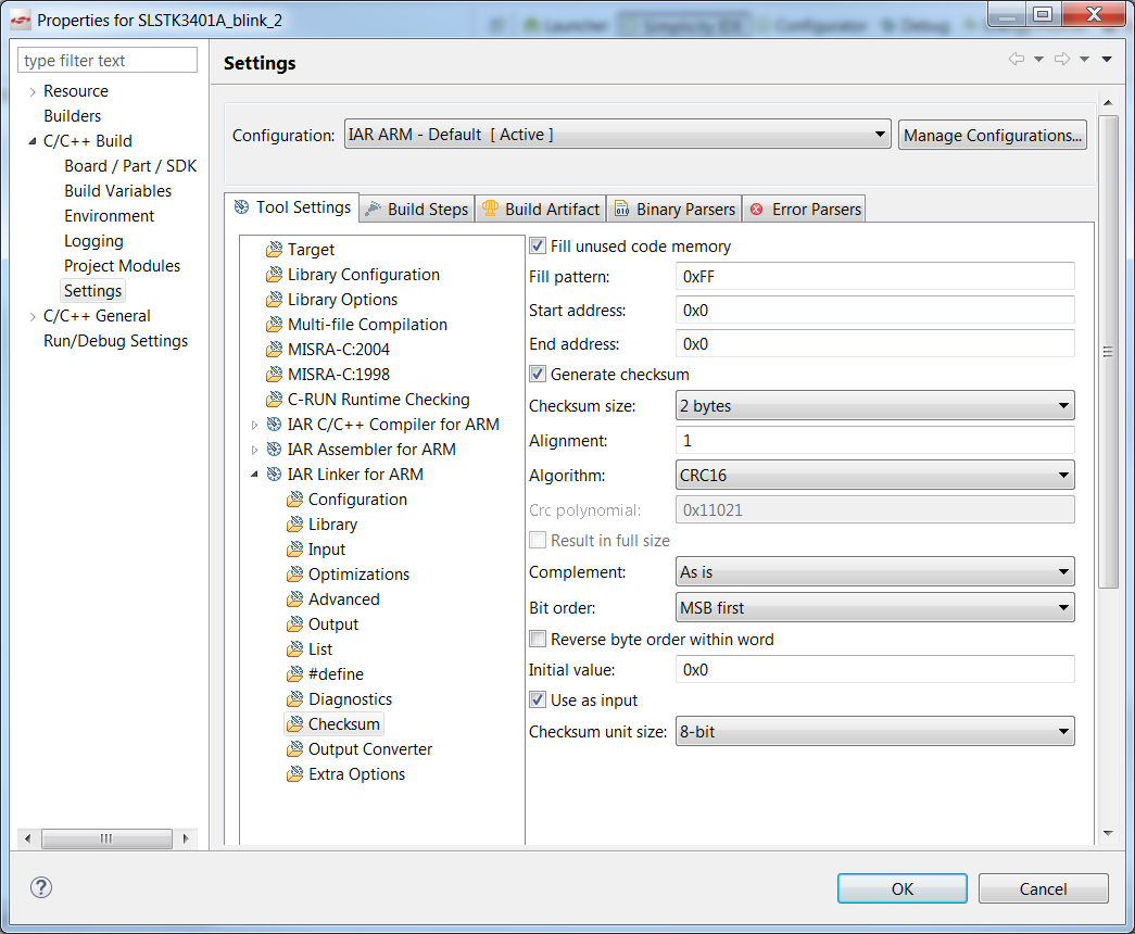 Enabling checksum using the IAR toolchain in Simplicity Studio V4