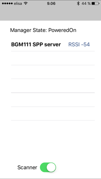 Evaluating SPP-over-BLE example using BLE1xx cable replacement app