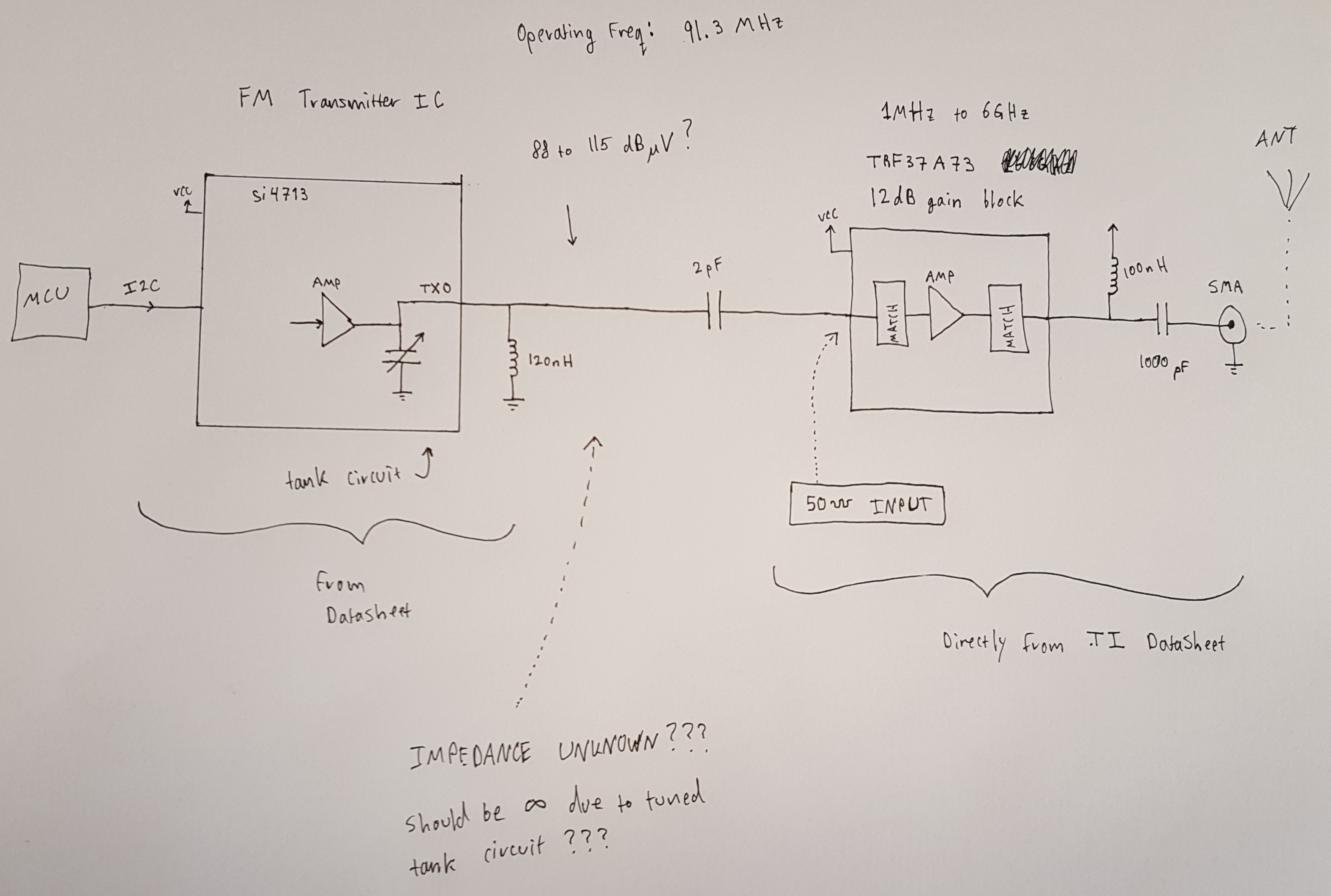 Help Connecting Rf Amplifier To Output Of Si4713 Fm Transmitter Ic Circuit Diagram Provide The Optimum Level And Frequency Response For Supported Transmit Frequencies Users Are Responsible Adjusting Their Systems