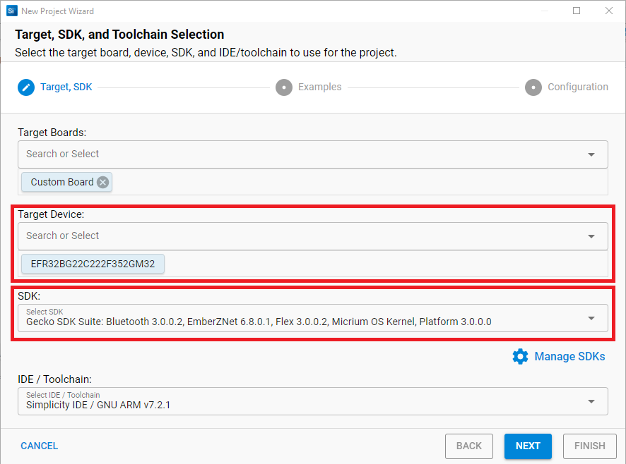 Target, SDK, and Toolchain Selection Dialog