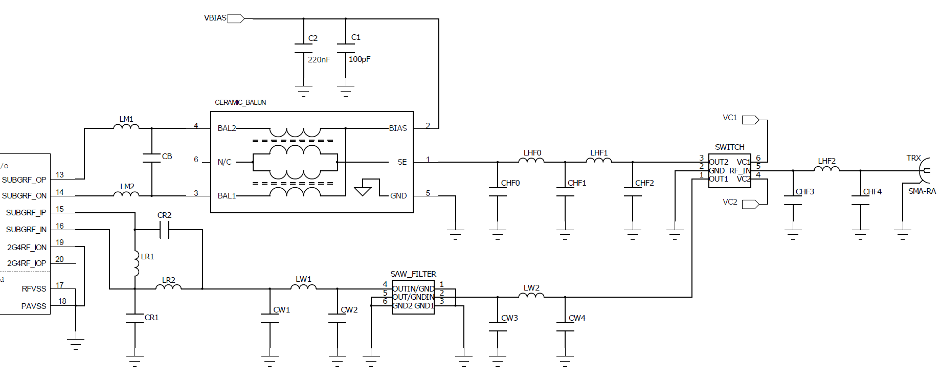 Knowledge Base Let S Look At The Schematic Rf Input Directly Connected Over Tx Path Match Is Kept From Reference Matches Available Recommended Component Values Are Shown In An923 Or Refer To Existing Designs