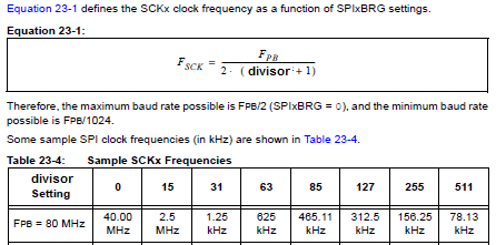 How to set SPI clock frequency for master mode