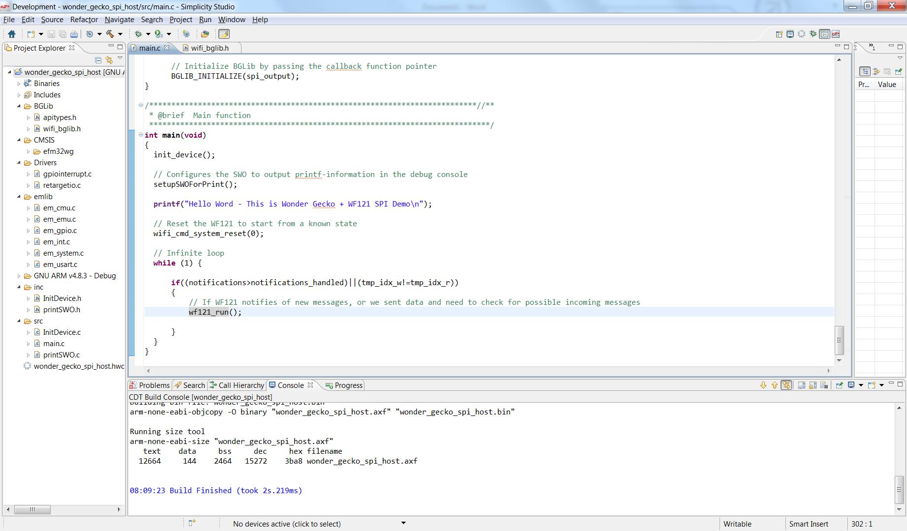 Wi-Fi: SPI host code example using BGLib